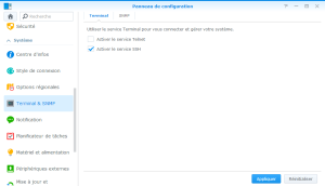 Activer SSH Synology
