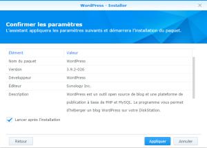Confirmation de l'installation de WordPress