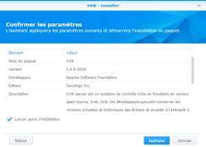 Confirmation de l'installation - SVN Synology