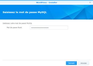 Saisi du mot de passe MySQL