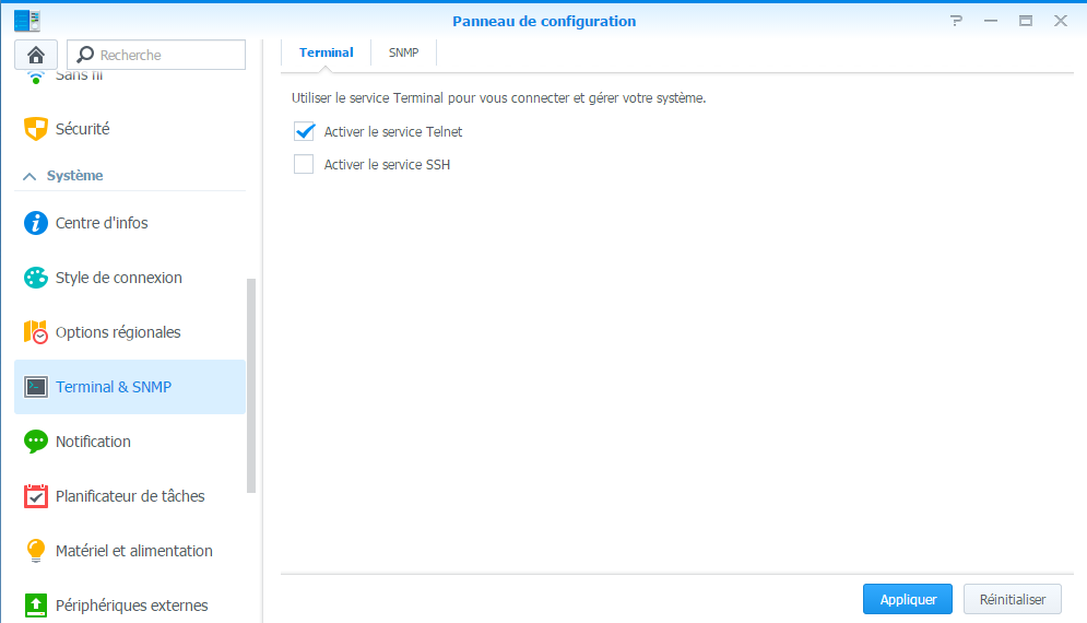 Activation du service Telnet sur un NAS Synology