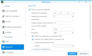 Configuration du protocole OpenVPN