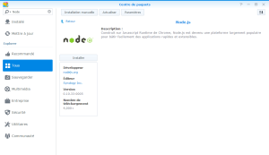 Installation de Node.js sur un NAS Synology