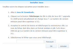 Instructions pour installer Java sur le NAS Synology