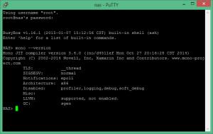 Vérification de l'installation de Mono sur le NAS Synology