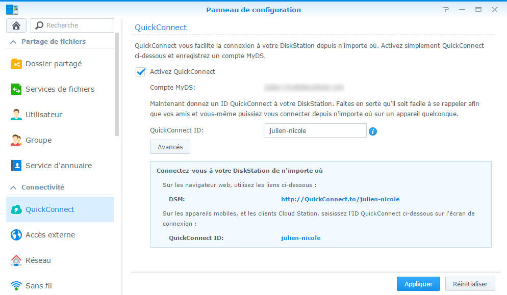 Configuration de QuickConnect