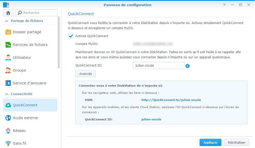 Configuration de QuickConnect