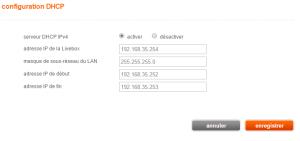 Configuration du serveur DHCP de la Livebox